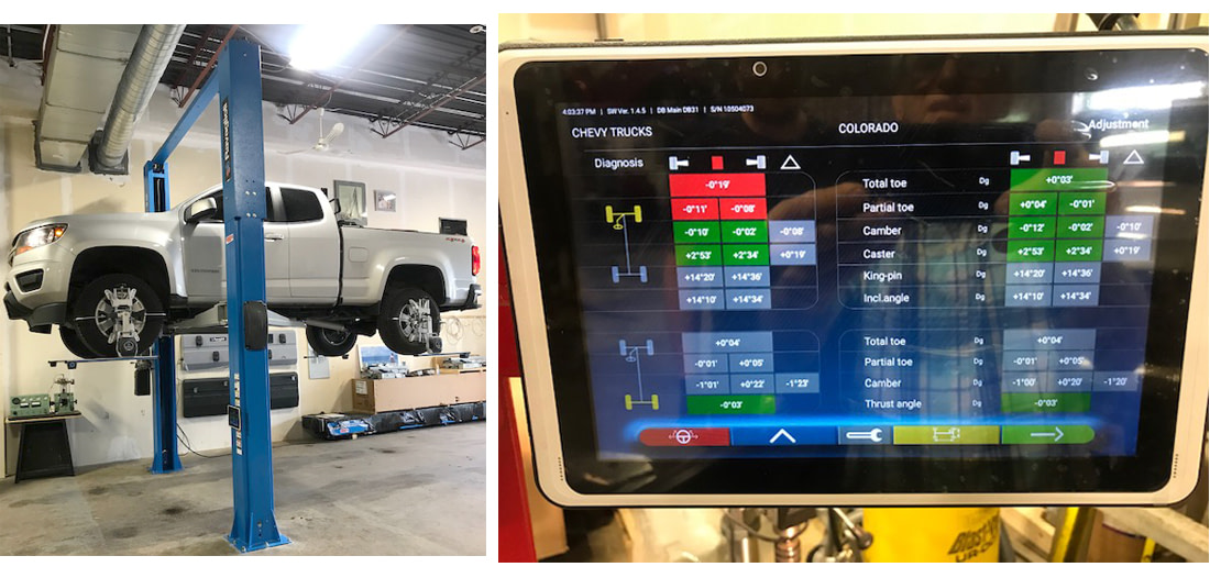 WIFI-truck-on-2-post-lift-with-tablet-settings